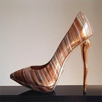 Dukas Sculpted Heels Ballet Striped Metal Legs Spring 2014 #Shoes #Heels