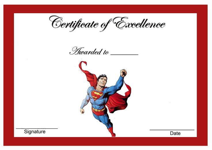Superman Themed Award Certificates Themed Award