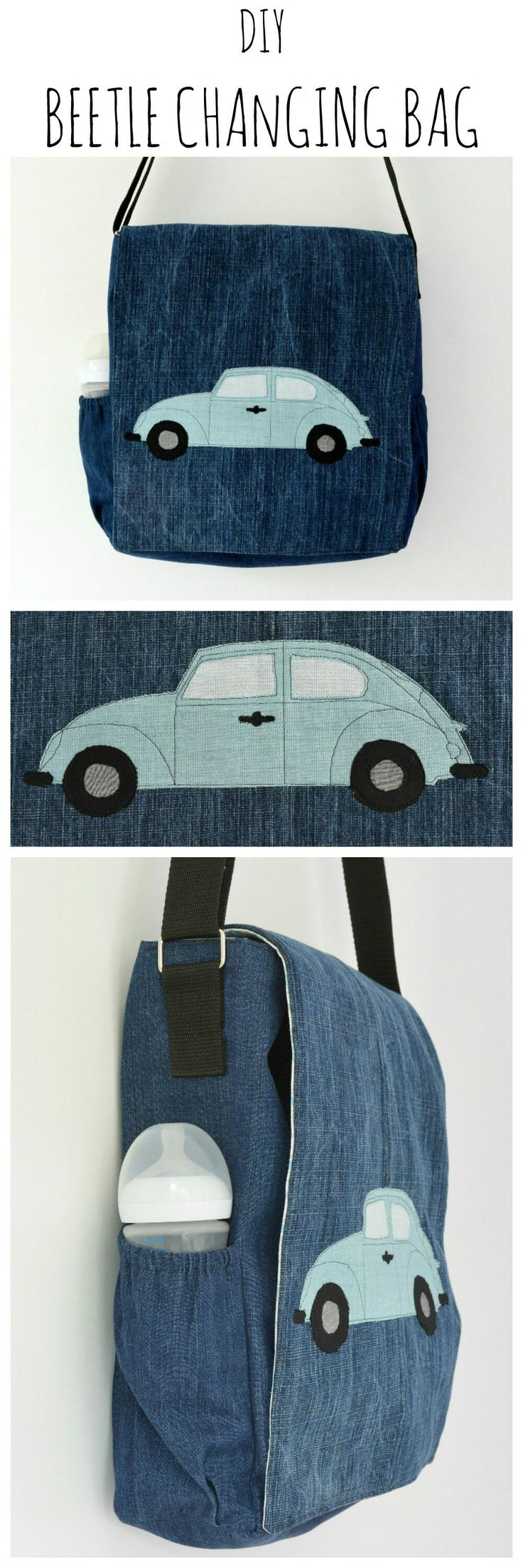 "Creating your own applique design is a great way of personalizing your bag. Find a full tutorial for the beetle car changing bag here and visit the collaborative board ""DIY bloggers for Volkswagen"" for more inspiring DIY instructions and ideas: http://www.pinterest.com/volkswagen/diy-bloggers-for-volkswagen:"