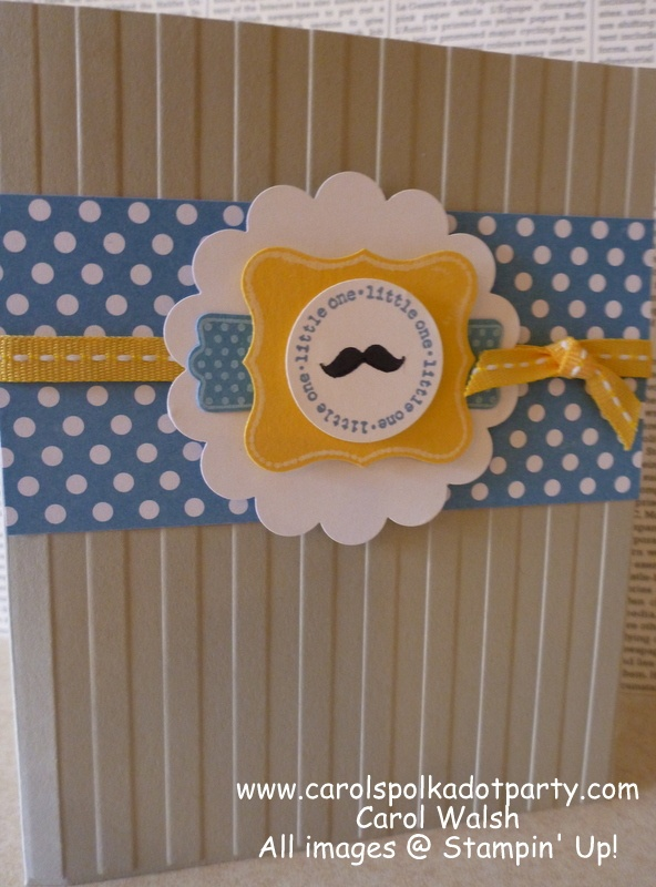 Stampin' Up! A Fitting Occasion Baby Card for baby boy created by Carol Walsh at www.carolspolkadotparty.com