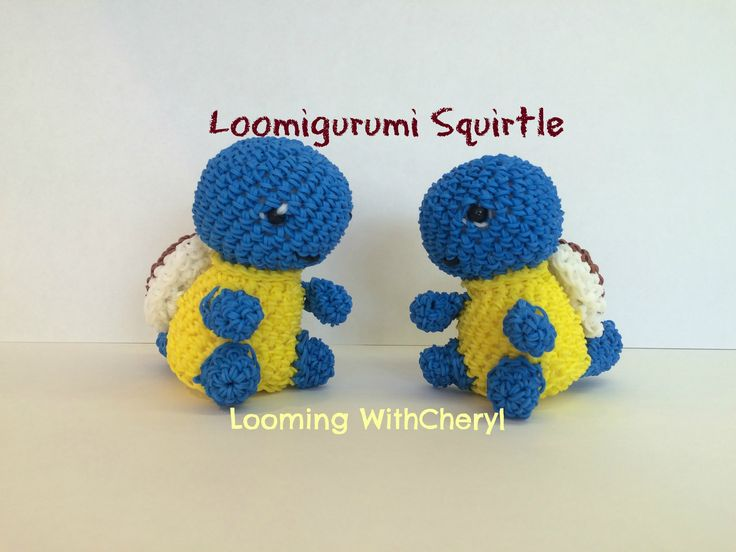 Rainbow Loom SQUIRTLE - Loomigurumi - Looming WithCheryl ( Looming With Cheryl ) Loomigurumi Tutorial is Now on YouTube! Charms / figures / gomitas / gomas / animals / Pokemon inspired. With your loom or crochet with your hook only / Amigurumi. Please Subscribe ❤️❤ m.youtube.com/user/LoomingWithCheryl