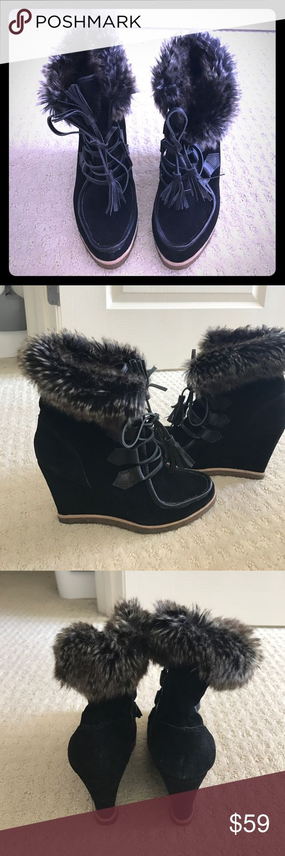 """Faux Fur Booties Super chic dark brown faux fur real black leather ankle booties, about 4"""" platform heels, brand new from Off 5th Saks, bought as is so there were minor spots on the suede but hard to see when wearing Splendid Shoes Ankle Boots & Booties"""