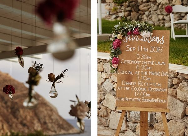 Wedding signs, wedding decor, custom made wedding programme | Luxury wedding in Greece