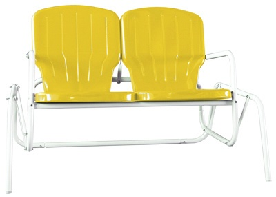Want this for my back yard.  Torrans Skylark Yellow Retro Styled Metal Double Glider Chair