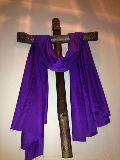 Fun lent decorating ideas: Lenten Ideas, Decor Ideas, Purple Lenten, Decorating Ideas, Lent Decorating, Easter Lent Ideas, Crosses, Church Decorating, Easter Ideas