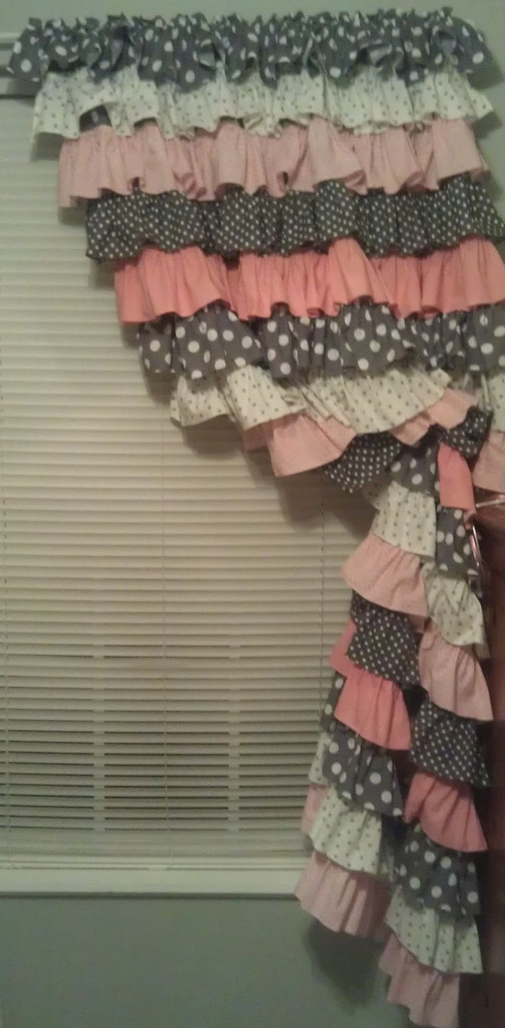 Ruffle curtains, great idea, easy to sew, but I would definitely do different colors/patterns.