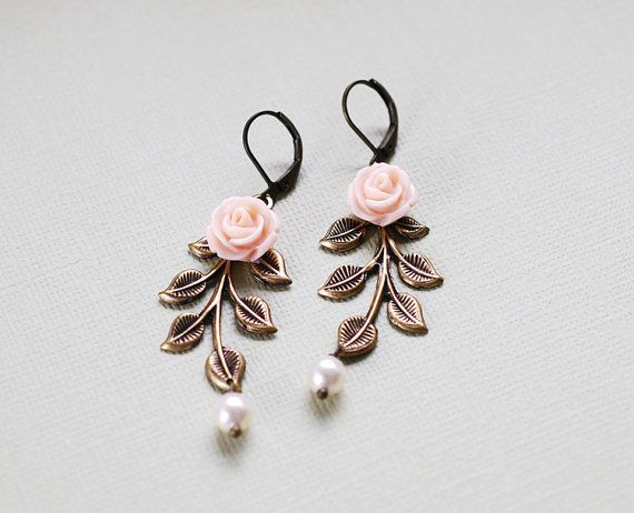 Leaf Earrings. Pink Flower Antiqued Brass Leaf Branch by LeChaim