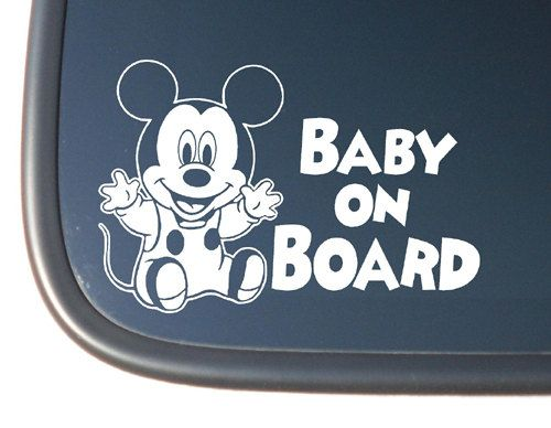 Mickey Mouse Baby Quot Baby On Board Quot Vinyl Car Decal 3 99