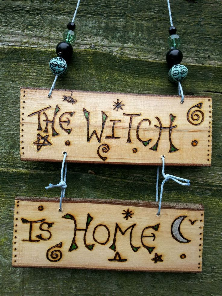 Witches Home Or Out Wall Reversible Wall Hanging Sign Witch Pagan Wicca Wicca
