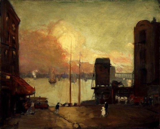 """Robert Henri. """"Nubes de cúmulos en el East River"""""""