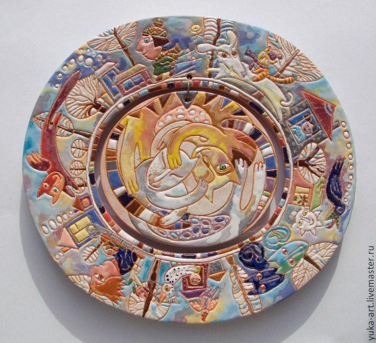 """Купить панно из керамики """"Зимний котоворот"""" - панно, керамическое панно, Керамика, майолика, круглая картина"""