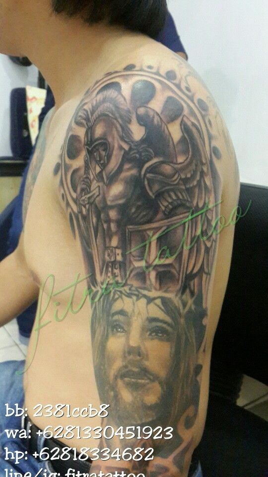 Bodyart#tattoo#fantasy#angel#warrior#black n grey#done by @fitratattoo