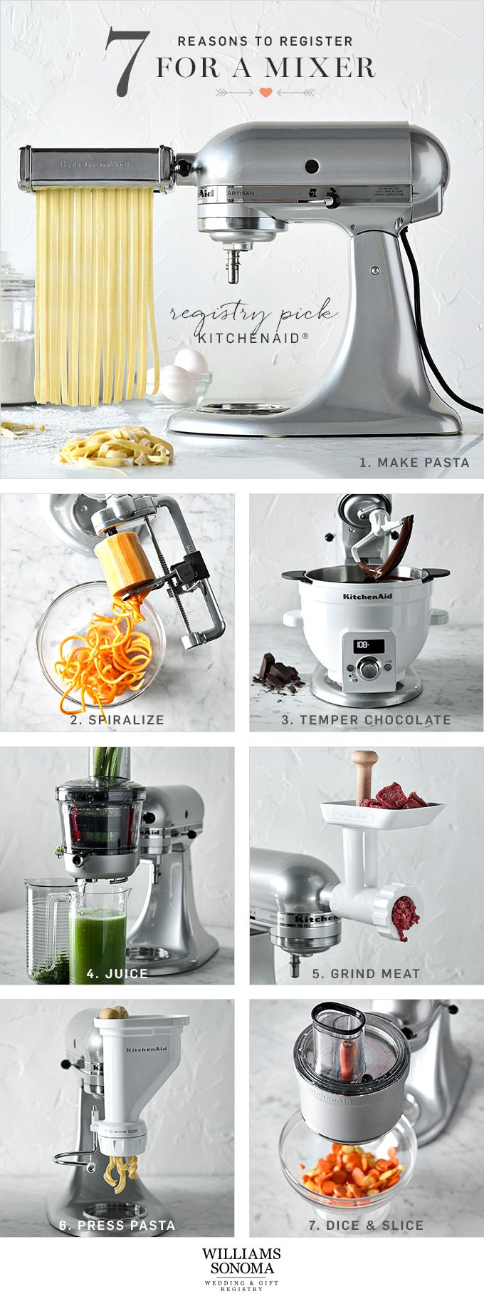Not sure what to register for? Start with the essentials that are made to last, like the versatile KitchenAid mixer. It can do more than make cake: the time-saving attachments make prep work a breeze. Once you have one in your kitchen, you'll wonder what you did without it!