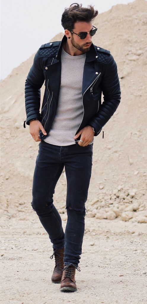 #mens #fashion / leather + gray Women, Men and Kids Outfit Ideas on our website at 7ootd.com #ootd #7ootd