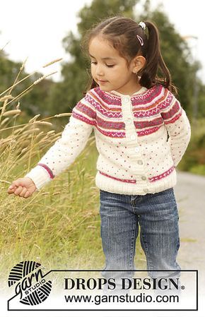 "Ravelry: s22-4 ""Jolie Fleur"" - Jacket with round yoke and multi-colored pattern in ""Alpaca"" pattern by DROPS design"