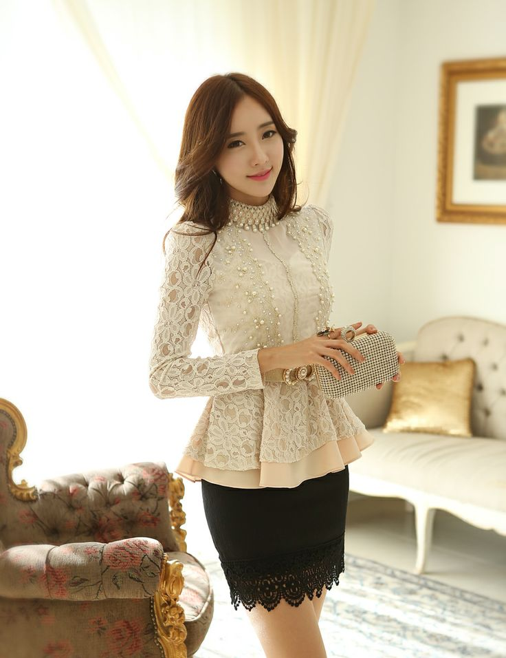 S XL!!! 2014 New Spring Women Princess long sleeve pearl Embroidery Lace Floral Crochet Blouse lace shirt Peplum Ruffle Top-inBlouses  Shir...