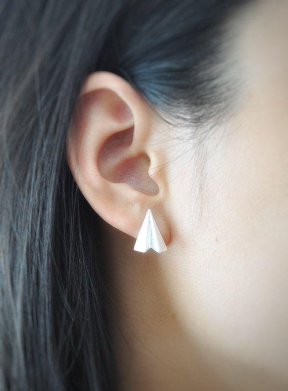 Argent sterling papier d'Origami avion boucles d'oreilles