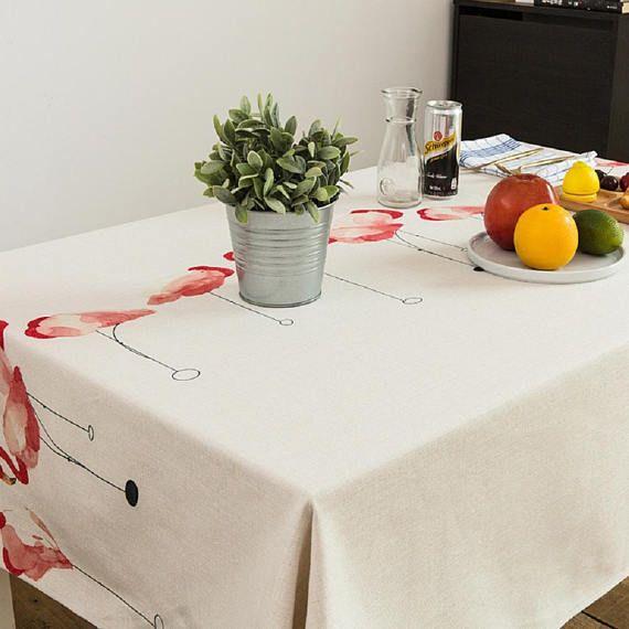 Flamingo Rectangle Tablecloth Wedding Tablecloth Handmade White Tabletop Sobres Hechos A Mano Manualidades Manteles
