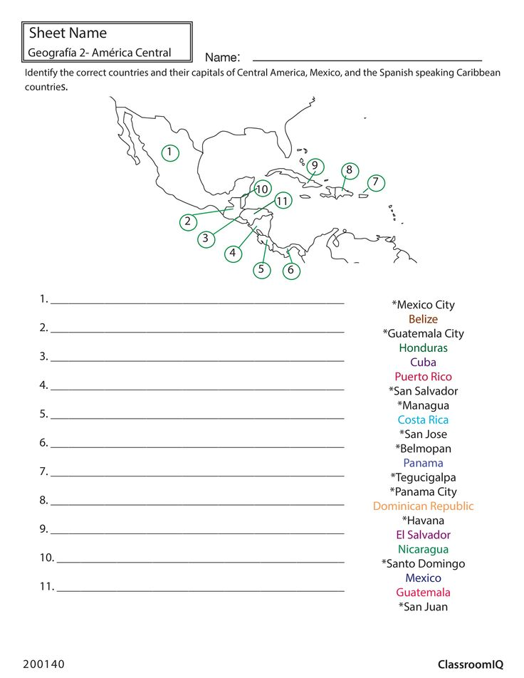 Identify Countries And Capitals Spanishworksheet