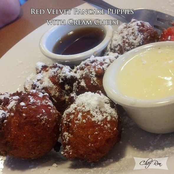 Red Velvet Pancake Puppies with Cream Cheese - Food Recipes
