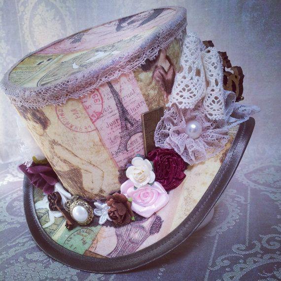 Steampunk top hat  Burlesque Gothic Victorian vintage pink