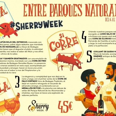 Si nada si corre si vuela entre Parques Naturales en Restaurante Cepas Algeciras España un menu diseñado por sumiller Alberto Taja Barragán para la International Sherry Week.   If it swims if it runs if it flies - a spectacular menu designed by sommelier Alberto Taja Barragán for Sherry Week who hopes to win the exclusive prize to attend the Sherry Educators course next year!  #sherryweek #sherrylover #gastronomy #algeciras #restaurante #maridaje #vinosdejerez #vinosjerez #jerez #sherry…