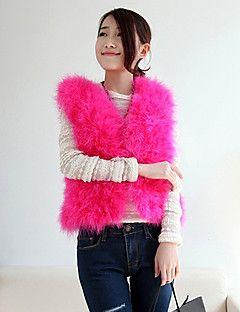 kolsuz, yakasız devekuşu kürk rahat / ofis / parti fırsat ceket (daha fazla renk)