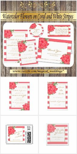 #Watercolor #Flowers on #Coral and #White #Stripes #WEDDING #INVITATIONS  http://www.zazzle.com/magical_weddings*
