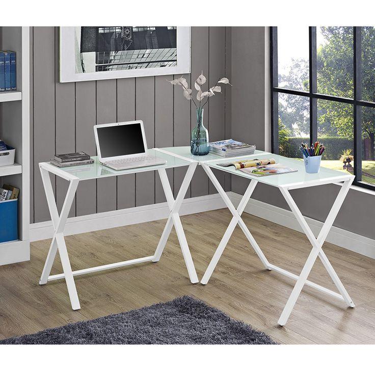 glass corner office desk. White Glass \u0026 Steel X-frame Corner Office Desk A