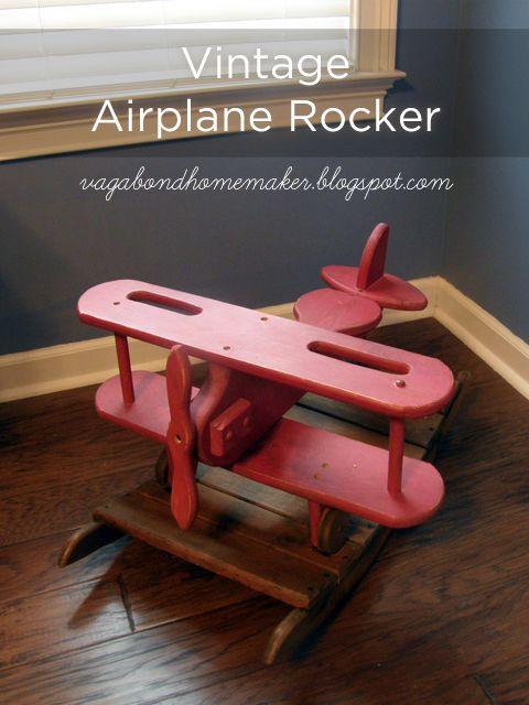The Vagabond Homemaker   Vintage Airplane Rocker