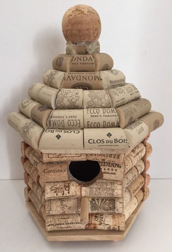 Wine Cork Birdhouse Handmade Unique Design with Builder's Signature on Bottom #Generic