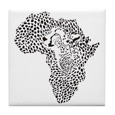 Africa in a cheetah camouflage Tile Coaster