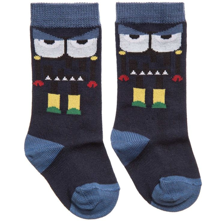 Fendi Boys Blue 'Monster' Cotton Socks