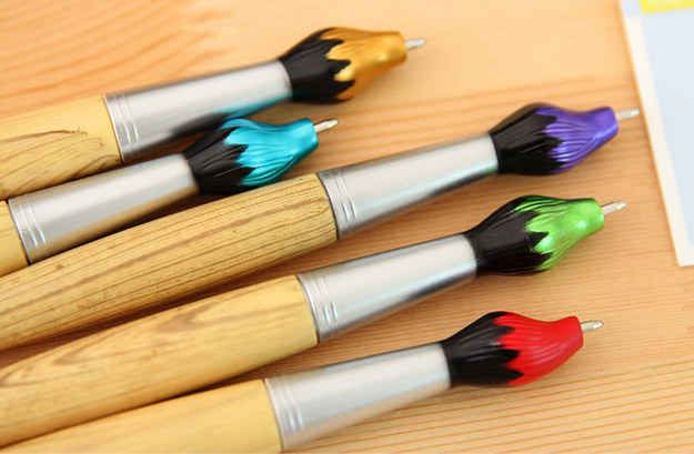 Pens that look like paintbrushes.