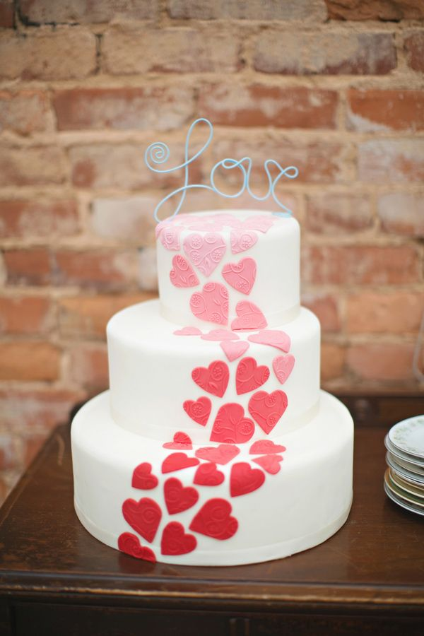 Gorgeous valentines wedding cake.  Pinned on Ruffled.com from Blooming Flour Bakery