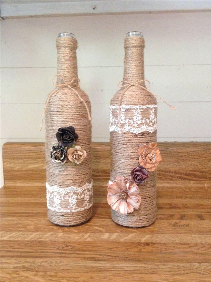 DIY twine wine bottles. Home decor on a budget!