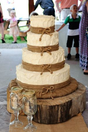 rustic wedding cake | burlap cake | 4 layer cake