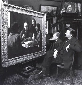 Director and chief restorer of Museum Boymans in Rotterdam admiring the newly discovered Emmaus by Johannes Vermeer that eight years later would appear to be a fake made by Han van Meegeren.