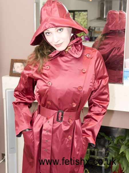 Tightly Belted Burgundy Satin Trench Coat Royalty