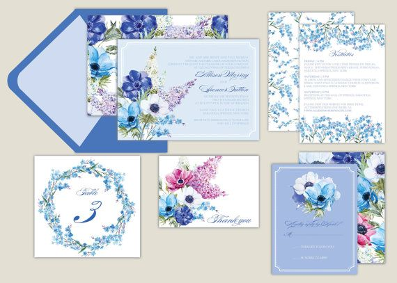 Forget Me Not Wedding Invitations: Watercolor Floral/Lilac/Anemone/Forget-me-not/Botanical