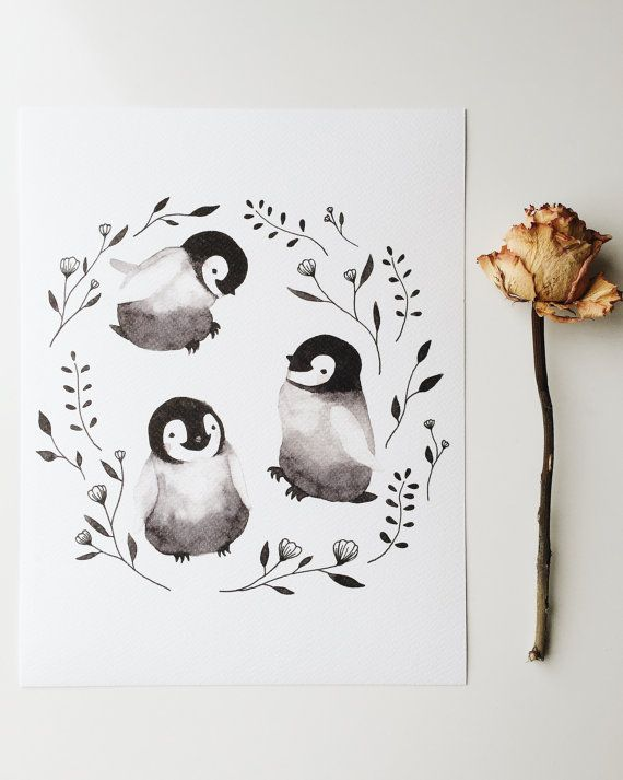 Art Print, bébé pingouins, aquarelle, Illustration, empereur, Animal, pépinière