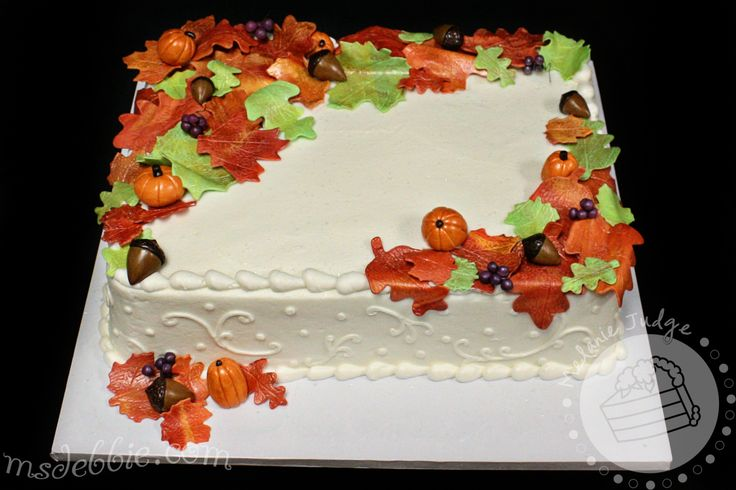 Fall Sheet Cake - Cake was iced in buttercream with gum paste leaves, acorns, berries, and pumpkins.