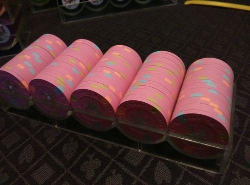 100 Paulson Poker Chips Avalon Club NCV Pink RARE Silver Foil   eBay