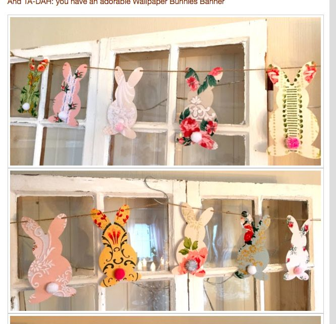 There's still plenty of time to make this darling garland. My creative friend Nancy Watkins used wallpaper. Even without the little pompom tails, i