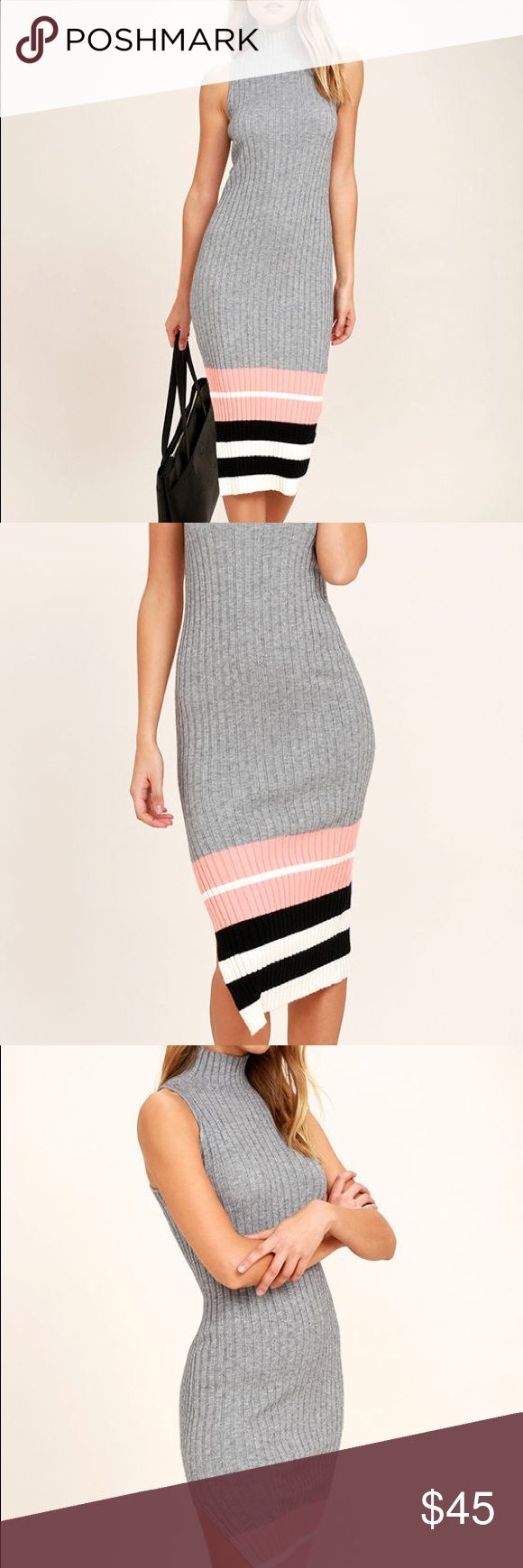 NWT Obey Marina Heather Grey Midi Sweater Dress Sold out everywhere online! Form flattering Sweater Dress by Obey. Great for a night out in the fall! Pair with some heels or over the knee boots! Make an offer! Obey Dresses Midi