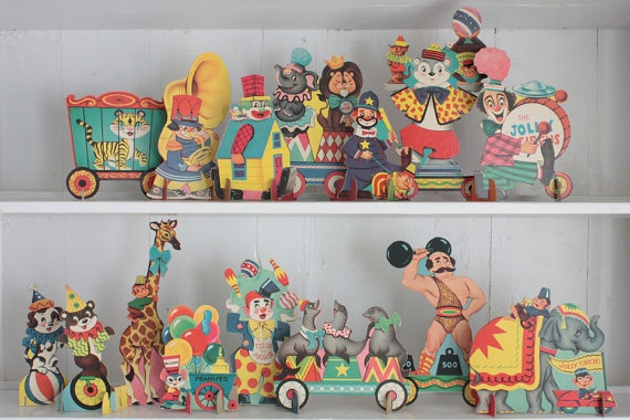 Vintage Jolly Circus Parade Cardboard Cut Outs: Retro Circus Decorations, 29 Piece Set of Cardboard Stand Ups, Children's Room Decor. $30.00, via Etsy.