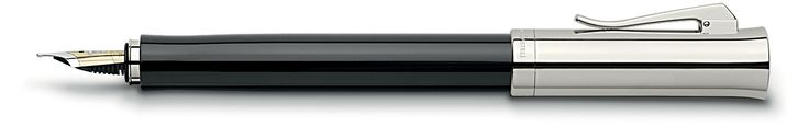 An elegant, yet masculine fountain pen that has been crafted from a single piece of precious resin. http://www.stonemarketing.com/graf-von-faber-castell-intuition-platino-fountain-pen-black