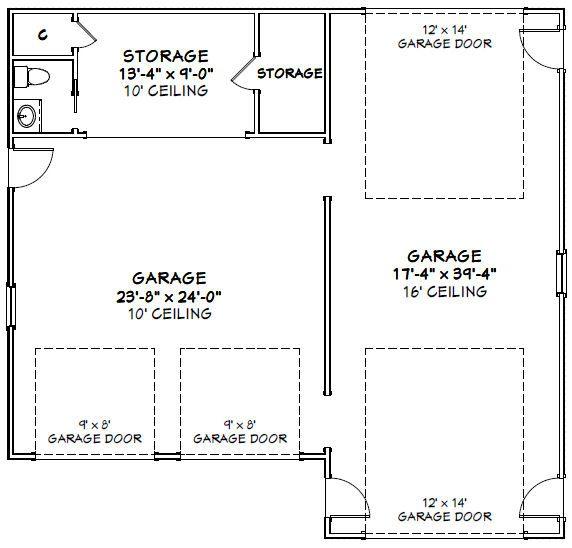 42x40 Garage 42x40g1b 1537 Sq Ft Excellent Floor Plans Floor Plans Car Garage How To Plan