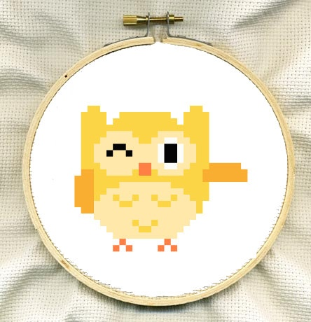 Yellow Owl Cute Cross Stitch Pattern by ComaStitch on Etsy, £1.00