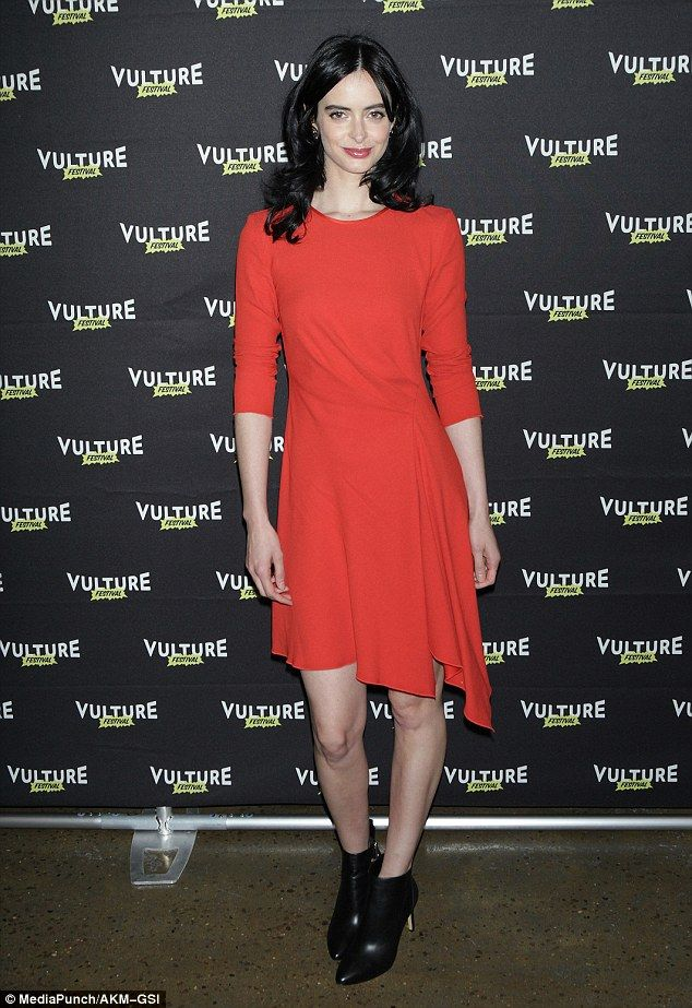 Appealing in orange: Krysten Ritter looked bright and lovely in an orange frock while promoting her Netflix series at Jessica Jones: The Art of Collaboration at Vulture Festival in NYC on Saturday